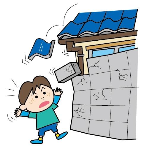 地震でブロック塀が崩れ落ちる図